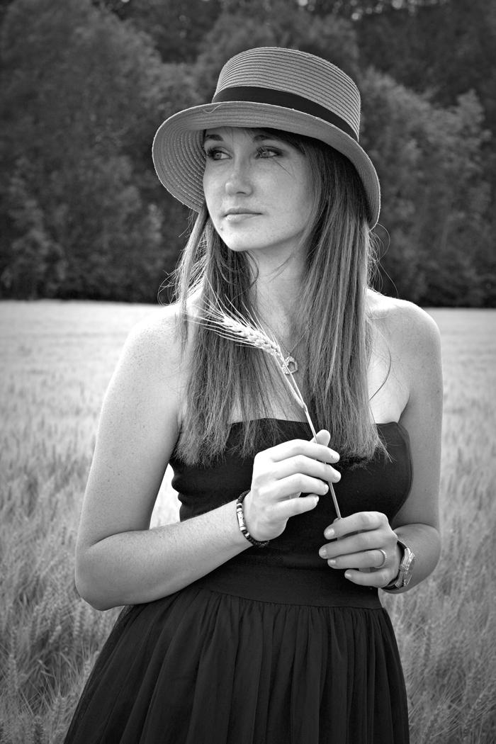 portrait ble nathalie champs musique noir et blanc